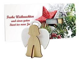 Weihnachtskarten mit Steckfigur Engel