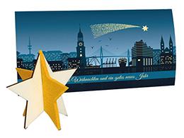 Weihnachtskarten mit Steckfigur Stern