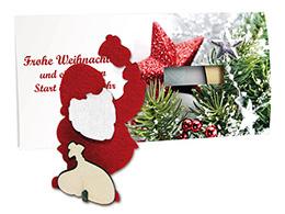 Weihnachtskarten mit Steckfigur Weihnachtsmann