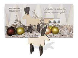 Weihnachtskarten mit Steckfigur Elch