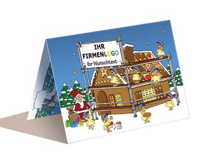Weihnachtskarte Gerüstbau Handwerk, cartoon-IT.de