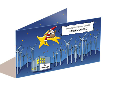 Weihnachtskarte erneuerbare Energien, Windkraft, cartoon-IT.de