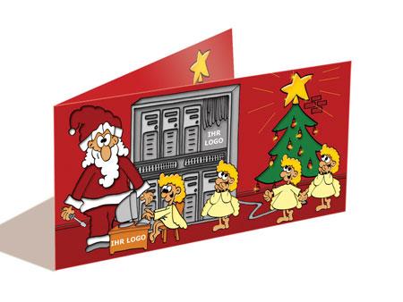 Weihnachtskarte mit Firmenlogo, EDV, IT-Dienstleistungen, cartoon-IT.de
