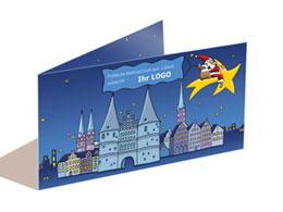 Stadt-Weihnachtskarten mit Firmen-Logo