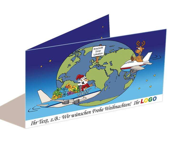 weihnachtskarte flugzeug air cargo frachtflugzeug