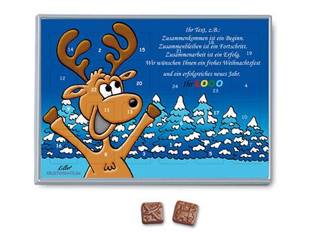 Weihnachtskalender mit logo und elch motiv comic - Niedliche weihnachtskarten ...